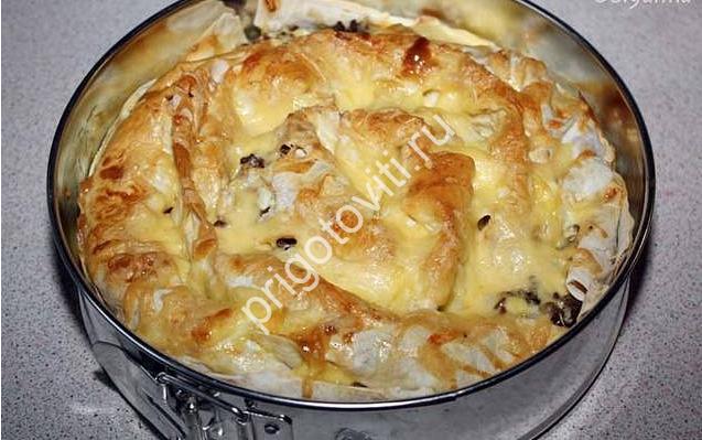 Мясной пирог из лаваша рецепт с фото