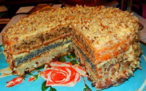 домашний трехслойный  торт фото