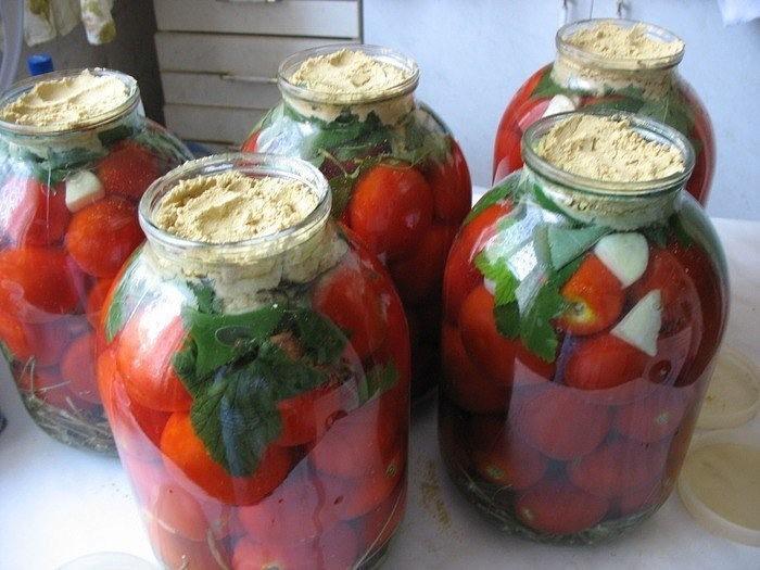 Квашеные помидоры с горчицей