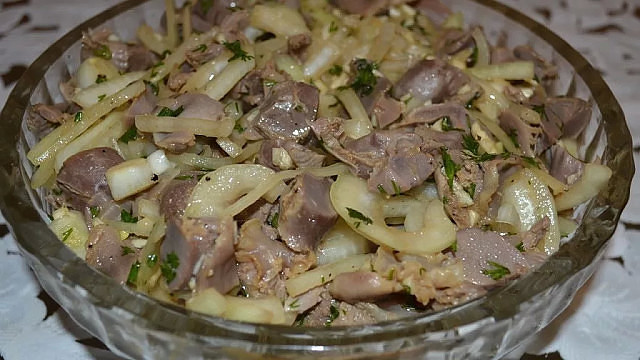 Маринованные куриные желудочки в соевом соусе