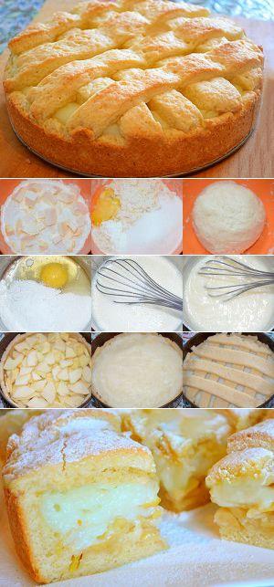 Если кто-то не пробовал пирог с заварным кремом и яблоками – советую приготовить его по этому рецепту. Пирог получается просто бесподобным, ароматным и нежным.