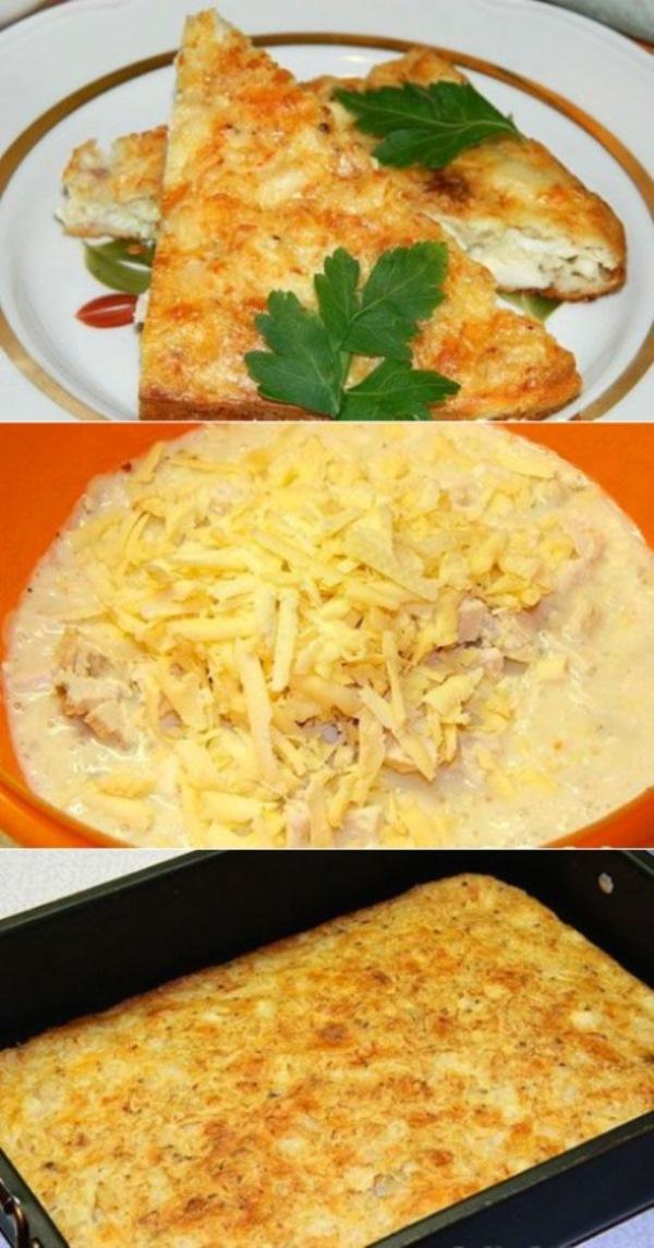 Сегодня испекла обалденную лёгкую запеканку из куриной грудки, за вечер уже пол-пирога съели — вкуснотище!