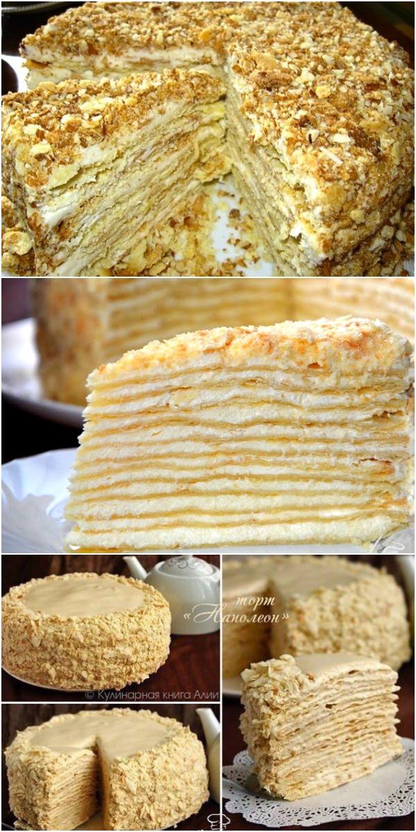 """Торт """"Наполеон"""" с очень вкусным кремом  — рецепт, который всегда выручает!"""