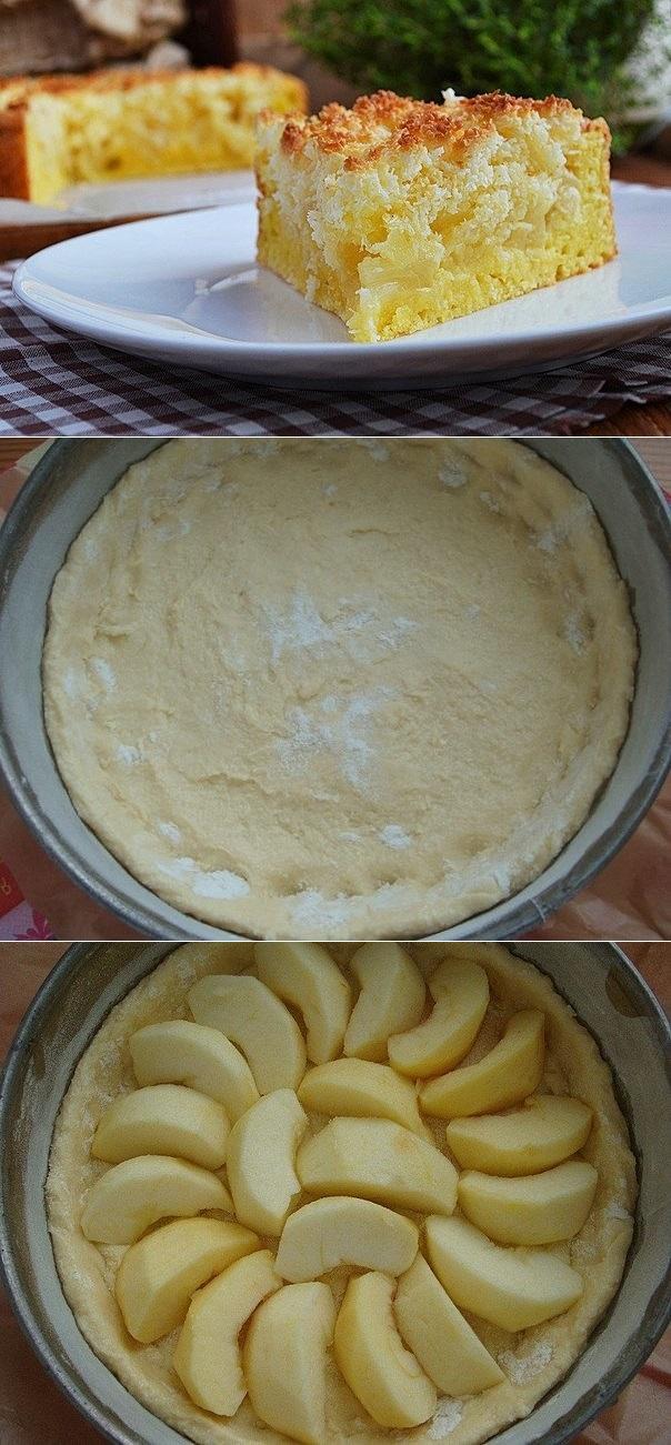 Творожной пирог с яблоками и кокосовой карамелью.