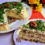 Рекомендую приготовить невероятно вкусный закусочный торт с грибами и сырным кремом. Ваши гости будут приятно удивлены.