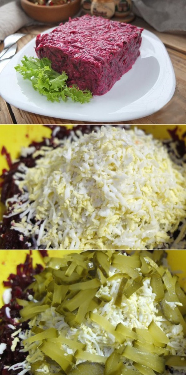 Салат свекольный «с кислинкой» получается невероятно нежным, мягким и очень сочным: в восторге от него все, кто хоть раз попробует.