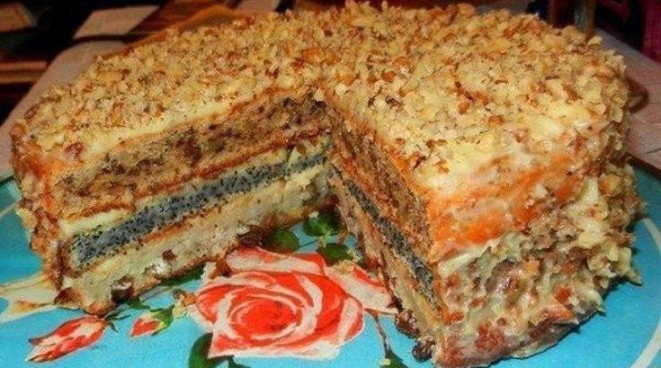 Популярный трехслойный домашний торт.