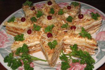 """Оригинальная закуска """"Наполеон"""" на Новый год"""
